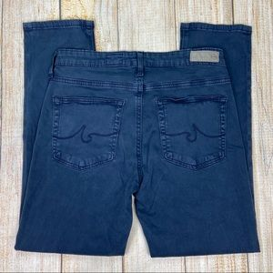 AG Blue The Prima Crop Cigarette Crop Pants Jeans